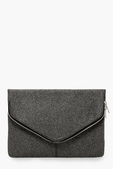 Womens Black Shimmer Oversized Fold Over Clutch Bag