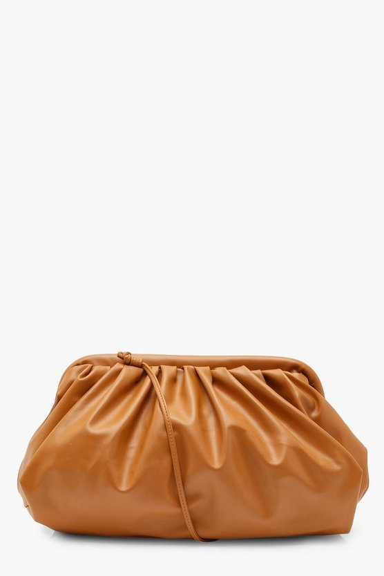 Slouchy Oversized PU Clutch & Strap Bag
