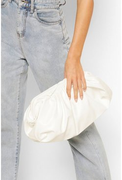 Womens White Slouchy Oversized PU Clutch & Strap Bag