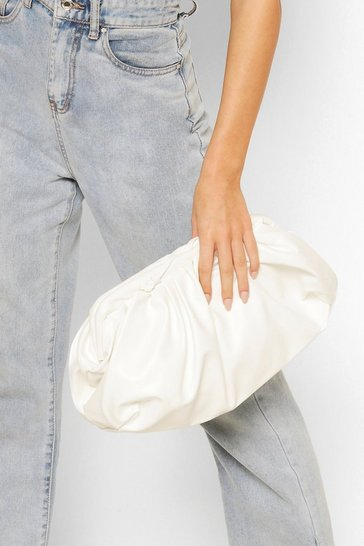 White Slouchy Oversized PU Clutch & Strap Bag