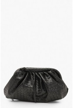 Womens Black Slouchy Mini Weave Clutch Bag