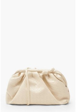 Womens Cream Slouchy Mini Weave Clutch Bag
