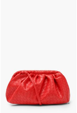 Red Slouchy Mini Weave Clutch Bag