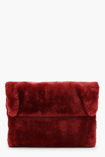 Womens Berry Faux Fur Fold Over Clutch Bag
