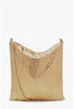 Womens Gold Chainmail Slouchy Cross Body Bag