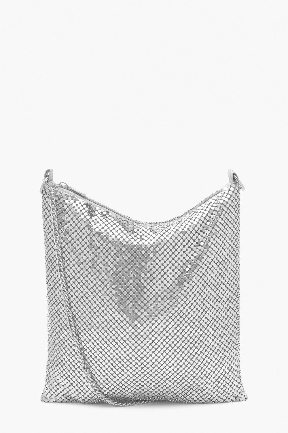 Vintage Handbags, Purses, Bags *New* Womens Chainmail Slouchy Cross Body Bag - grey - One Size $46.00 AT vintagedancer.com