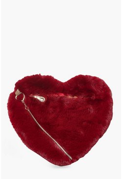 Womens Berry Faux Fur Heart Bag & Chain