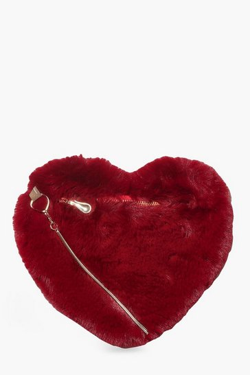 Berry Faux Fur Heart Bag & Chain