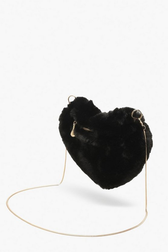 Faux Fur Heart Bag & Chain