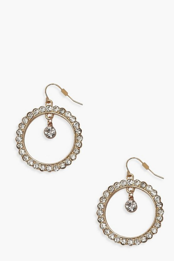 Open Circle Earrings With Diamante Pendant