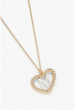 Womens Gold M Initial Heart Pendant Necklace