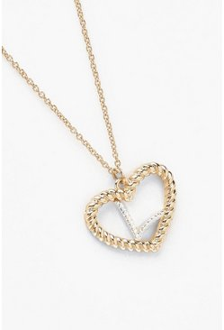 Womens Gold L Initial Heart Pendant Necklace