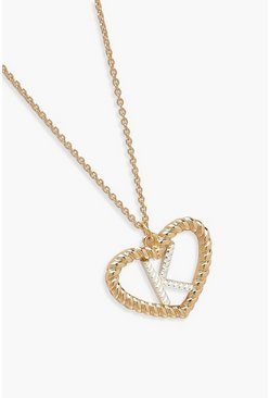Gold K Initial Heart Pendant Necklace