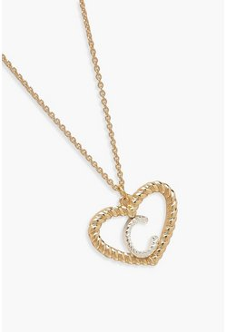Womens Gold C Initial Heart Pendant Necklace