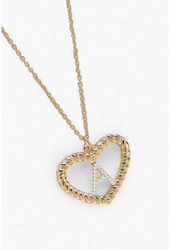 Womens Gold A Initial Heart Pendant Necklace