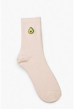 Knöchellange Socken mit Avocado-Stickerei, Hellpink