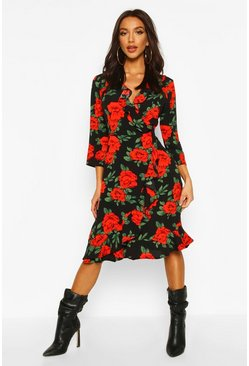 Womens Black Woven Rose Print Ruffle Midi Tea Dress