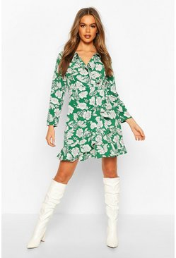 Womens Green Floral Print Ruffle 3/4 Sleeve Tea Dress