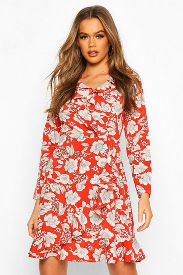Rust Floral Print Ruffle 3/4 Sleeve Tea Dress