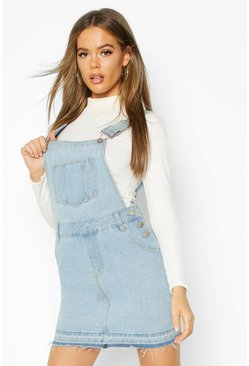 Light blue Denim Overall Frayed Hem Pinafore Dress