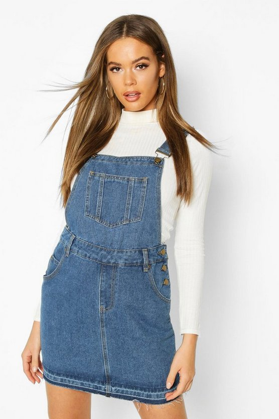 Womens Mid blue Denim Dungaree Frayed Hem Pinafore Dress