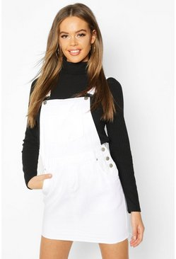 Womens White Denim Dungaree Frayed Hem Pinafore Dress