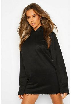 Womens Black Tonal Oversized Hoodie Dress