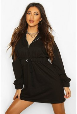 Womens Black Tonal Hooded Oversized Dress