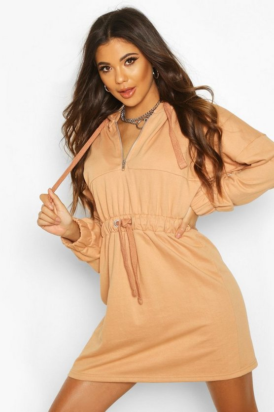 Sand Tonal Hooded Oversized Dress