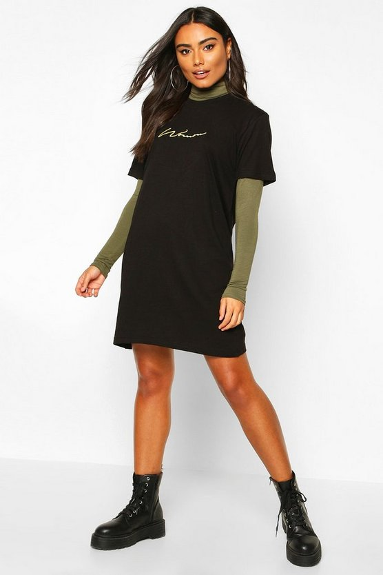 Woman Embroidered T-Shirt Dress