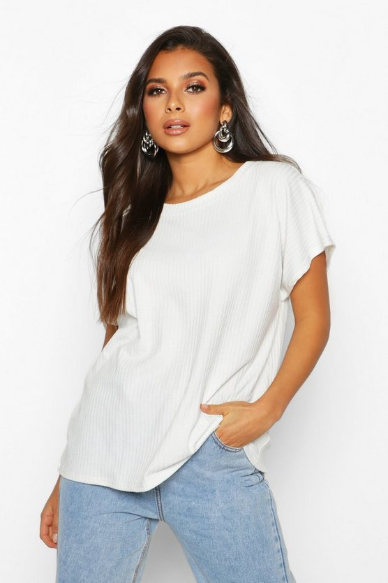Womens Ivory Oversized Soft Rib T-Shirt