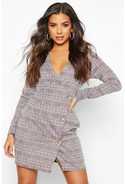 Grey Checked Jacquard Button Front Shift Dress