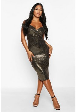 Dam Gold Bardot Sequin Midi Dress