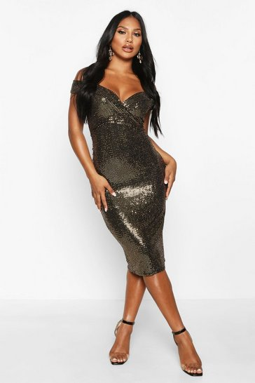 Womens Gold Bardot Sequin Midi Dress