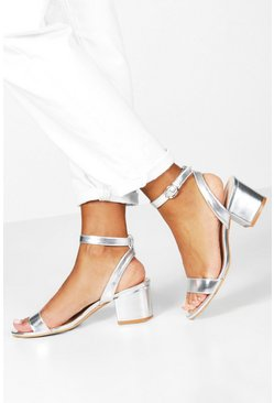Silver Metallic Basic Low Block 2 Part Heels