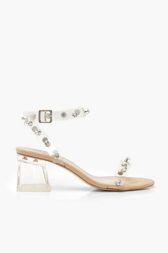 Embellished Clear 2 Part Low Block Heels