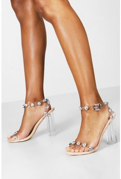 Dam Nude Embellished Clear 2 Part Heels