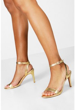 2-teilige schlichte Heels in Metallic-Optik, Gold