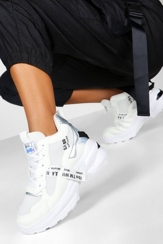 White Chunky Mixed Panel Trainers