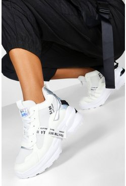 Womens White Chunky Mixed Panel Trainers