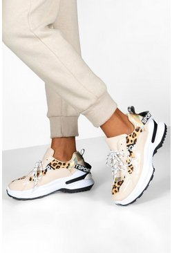 Womens Beige Leopard Panel Chunky Trainers