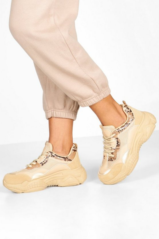 Sand Snake Panel Chunky Sole Trainers
