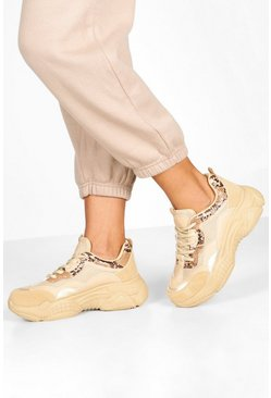 Womens Sand Snake Panel Chunky Sole Trainers