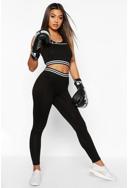 Black Fit Woman Jersey Sports Set