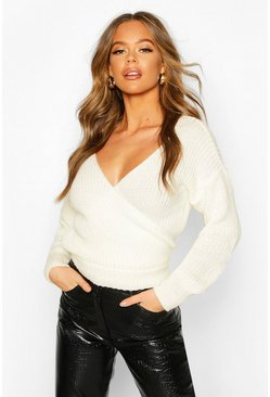 Cream Wrap Knitted Sweater