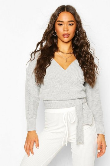Grey Wrap Knitted Jumper