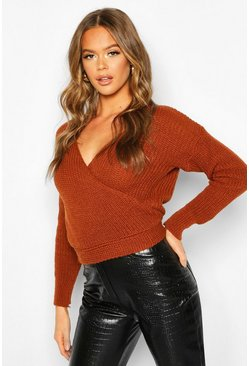 Womens Tobacco Wrap Knitted Jumper