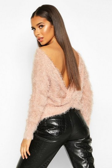 Womens Blush Knot Back Feather Knit Jumper