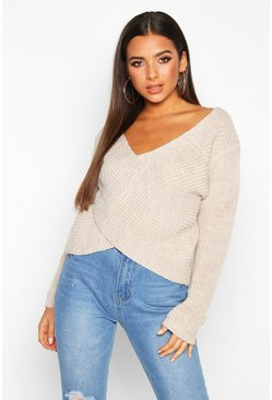 Stone Wrap Front Knitted Jumper