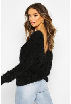 Womens Black Oversized Twist Knot Back Feather Knit Jumper